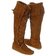 shoes for women boots | Women's Minnetonka Moccasin Front Lace KneeHi Boot Brown Suede Shoes ...