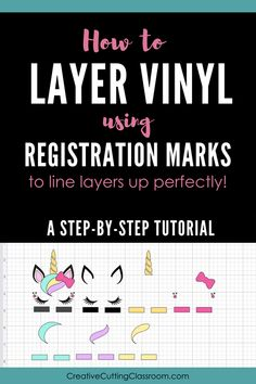 to Layer Vinyl Using Registration Marks (So the Layers Line Up Just Right!) How to Layer Vinyl Using Registration Marks to Line Layers Up Perfectly!How to Layer Vinyl Using Registration Marks to Line Layers Up Perfectly! Cricut Vinyl, Vinyle Cricut, Cricut Air 2, Cricut Help, Cricut Craft Room, Cricut Fonts, Cricut Heat Transfer Vinyl, Cricut Stencils, Buy Vinyl