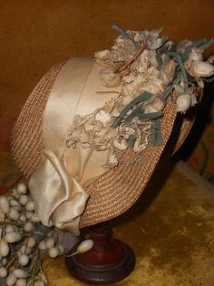 ~~~ Fancy All Original Straw Cabriolet Bebe Bonnet ~~~ from whendreamscometrue on Ruby Lane