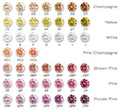 chart of various colored diamonds i like the pink, purple pink and white. and platinum or white gold.