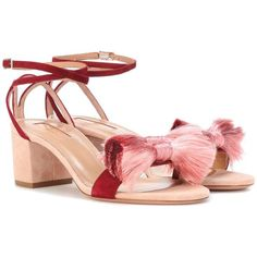 Aquazzura Lotus Blossom 50 Suede Sandals (15.325 ARS) ❤ liked on Polyvore featuring shoes, sandals, pink, aquazzura, suede sandals, suede shoes, pink suede sandals and pink flower shoes