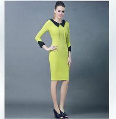 2013 Vintage classic Women Casual Dress Lapel Long Sleeve bodycon dress evening elegant Vintage Career dresses Free Shipping