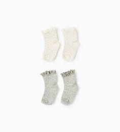 Lace trim polka dot socks (pack of two pairs)-ACCESSORIES-MINI | 0-12 months-KIDS | ZARA United States