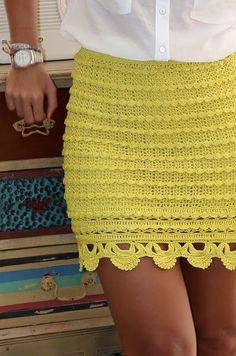 crochet skirt in neon color