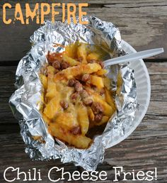 Delicious and easy recipe for campfire chili cheese fries that even the kids will love. #camping #recipe #70dayroadtrip