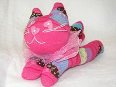SOLD.  Plush Toy Sock Kitty Cat in Pink with by AsYouWishCreations4u $15.00