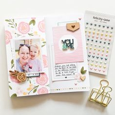 Today I have a traveler's notebook spread to share with you that I created using the super beautiful 'Sophie' kit from @felicityjanestudio! All the details are on my blog (link in my profile). By the way, how cute are those little puffy stickers... I LOVE them!!! #felicityjanestudio #fjcreativeteam #fjsophie #travelersnotebook #scrapbooklayout