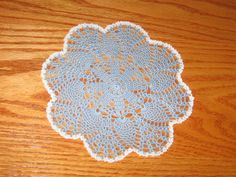 Versatile Petite Pineapples Doily Hand crocheted, Blue Edged in White - pinned by pin4etsy.com  #EtsyGifts