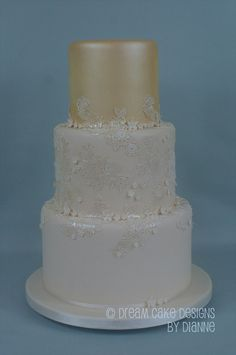 'GEMMA' ~ pretty 3 tier ivory lustre & lace design inspired by the brides gown Luxury Wedding, Our Wedding, Small Intimate Wedding, Dream Cake, Bride Gowns, Centre Pieces, Wedding Gallery, Lace Design, Celebration Cakes