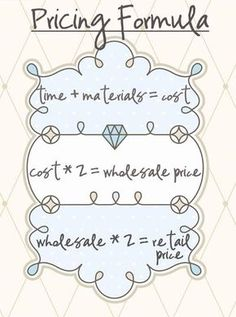 A pricing formula for selling crafts and other products. Determine costs, wholesale and retail prices. For etsy and craft store owners and small business startup owners and beginners who want to get ahead of the competition. La Petite Boutique, A Boutique, Couture Boutique, Boutique Ideas, Mobile Boutique, Boutique Clothing, Crafts To Sell, Diy And Crafts, Arts And Crafts