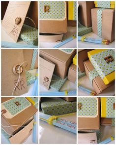 brown paper gift packaging, wooden button, paper, coordinating pencil