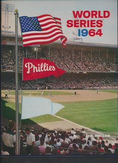 A picture of a 1964 Phillies World Series program that was pre-printed. As you know the led by games with 2 week to go and collapsed, losing the pennant to the Cardinals on the final day. It had been a foregone conclusion that the Phils would be in the WS Major League Baseball Teams, Dodgers Baseball, Baseball Field, Phillies World Series, St Louis Cardinals Baseball, Stl Cardinals, Baseball Photos, Education Humor
