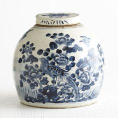 Chinoiserie Blue and White Ceramics - Chinese Lidded Jar - Buy from Wisteria.com
