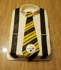 Steelers shirt, tie and suspender cake