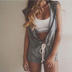 Women Zipper Sleeveless Hooded Casual Jumpsuit  Playsuit Sports Shorts Romper