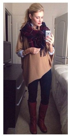 Skinny jeans, brown boots, chambray shirt under a taupe sweater, red plaid scarf