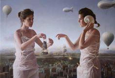 Dos Pilares II (Two Pillars)   oil / canvas   Edgar Noe Mendoza Mancillas - Spanish painter born in Alicante