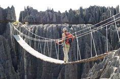 Bridge Tsingy de Bemaraha National Park on the western coast of Madagascar.