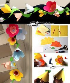 DIY Flower Garland - Making paper craft very clever and given as a gift Mum's for Mother's Day they could be used in so many ways as this activity shows! Paper Flower Garlands, Paper Flowers Craft, Flower Crafts, Diy Flowers, Paper Crafts, Paper Toys, Diy For Kids, Crafts For Kids, Diy Paper Christmas Tree