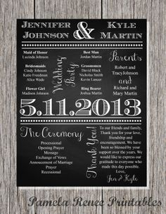 Custom Printable Chalkboard Style Wedding by PamelaReneePrints, $20.00
