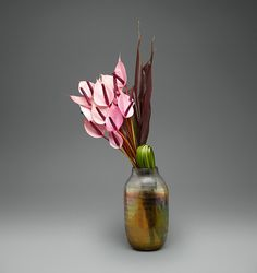 Exotic Anthurium in Onyx Glass   L'Olivier Floral Atelier