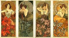 Alphonse Mucha, The Precious Stones (Ruby, Emerald, Amethyst, Topaz)