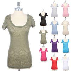 Floral Burnout T Shirt Short Sleeve Scoop Neck Layering Top Casual Cotton S M L