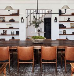 59 Best Rustic Dining Room Design Ideas - Page 42 of 59 - Decorating Ideas - Home Decor Ideas and Tips Architectural Digest, Dining Room Design, Dining Room Table, Leather Dining Room Chairs, Rustic Dining Rooms, Bed Table, Dining Decor, Leather Chairs, Design Bedroom