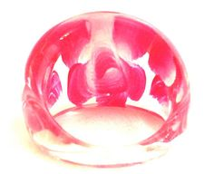 PINK Red Painted FLOWER Translucent Ring 8 Plastic Clear Lucite Bold Tall Floral