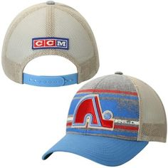 Men s Quebec Nordiques Reebok Gray CCM Printed Stripe Meshback Adjustable  Hat b58d05904