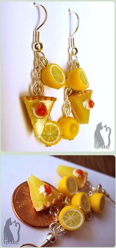 Polymer Clay Lemon Pie Earrings by Talty.deviantart.com on @deviantART available on commission!