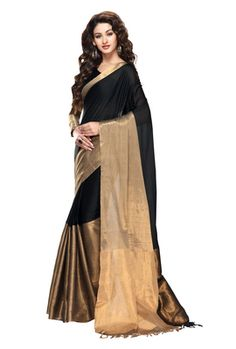Kvsfab Black Cotton Saree Kvssr Aarya Onyx Sarees on Shimply.com