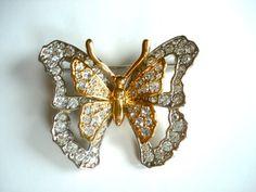 Nolan Miller Butterfly broach brooch pin two tone gold by CindelT, $30.00