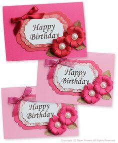 クラフトパンチで立体の花、カード Giant Flowers, Paper Flowers, Birthday Cards, Happy Birthday, Mothers Day Cards, Scrapbook, Flower Cards, Flower Wall, Wedding Cards