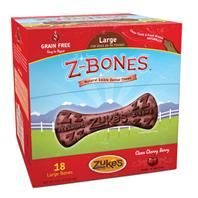 Zukes - Z-Bones Natural Grain-Free Dental Chew Display - Berry - Large/18 Piece - 613423821376. • Display Contains: 18 Large Berry Z-Bones • Helps Polish Teeth, Freshen Breath, and Maintain Healthy Gums • Contains Nutrient-Rich Apples, Pumpkin, and Cherries That Are Powerful Sources Of Antioxidants • Potato and Pea-Based Formula Makes It Highly Digestible • Alfalfa, Parsley, Rosemary, and Fennel Naturally Fr.