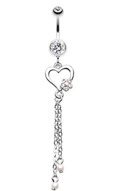 Sweet Heart and Flower Belly Button Ring