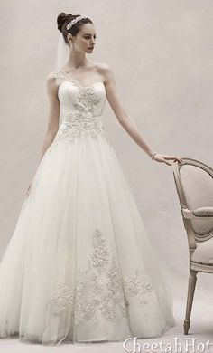 David's Bridal - One Shoulder Tulle Ball Gown with Lace Appliques