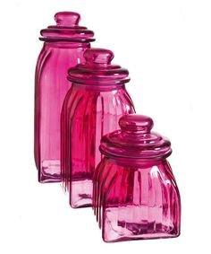 Take a look at this Pink Glass Jar Set by Cypress Home on #zulily today! Pink Love, Pretty In Pink, Hot Pink Kitchen, Pink Houses, Everything Pink, Canister Sets, Fuchsia, Glass Jars, Colored Glass