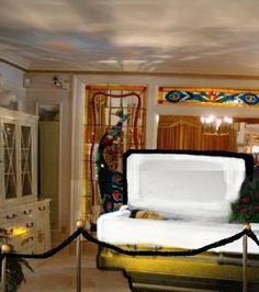 Enlarged Photo Showing The Placement Of Elvis's Casket In Graceland's Music Room On August 18, 1977 - PHOTOSHOPPEDDDDDD !!!!! please dont pin this and  remove it from your boards