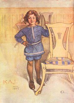 Kaj, aquarelle de Carl Larsson (1853-1919, Sweden)