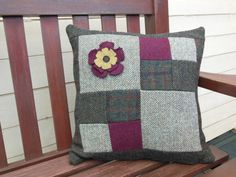 Tweed Patchwork Poppy Cushion Cover/ Pillow by PoppyMallow on Etsy