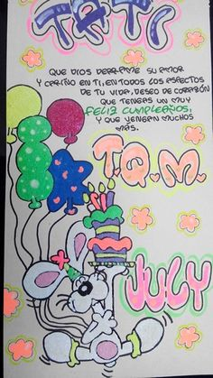 Feliz cumpleaños Notebook Art, Unicorn Crafts, My Boo, Birthday Decorations, Birthday Wishes, Crafts To Make, Ideas Para, Smurfs, Doodles