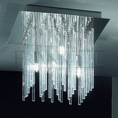 fireplace glass crystals with led lights | Carillon Ceiling light - 4 light flush fitting,beautiful smooth glass ...