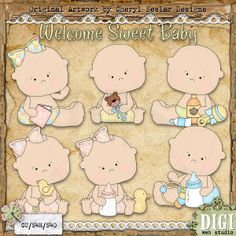 Welcome Sweet Baby 1 - Exclusive Cheryl Seslar Country Clip Art : Digi Web Studio, Clip Art, Printable Crafts & Digital Scrapbooking!