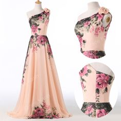 (GK One Shoulder Flower Pattern Chiffon Ball Gown Evening Prom Party Dress 8 Size US 2~16 CL7504. by many factors such as brightness of your monitor and light brightness. 3) Matched flower on shoulder. | eBay!