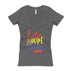 Women's V-Neck T-shirt Love Hope Autism