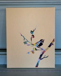 Make a collage, then place a stencil and paint over it. by gracie