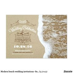 Modern beach wedding invitations -Sea Foam Sand Modern yet vintage beach wedding invitation with romantic sea wave and beach sand. Cute stylish taupe brown and white typography, elegant seashell and starfish calligraphy, perfect sea foam fbeach wedding or destination wedding invite. Fun wedding invites. Customize invitations for your weddings. #invitations #invites #weddings
