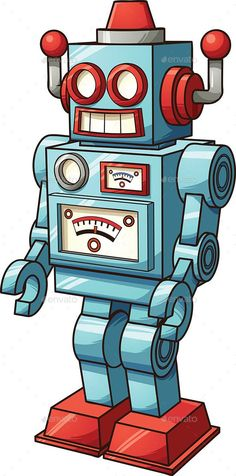 Buy Retro Toy Robot by memoangeles on GraphicRiver. Vector clip art illustration with simple gradients. All in a single layer. Arte Robot, Robot Art, Art And Illustration, Robots Drawing, Vector Robot, Vintage Robots, Robots For Kids, Graffiti, Robot Design