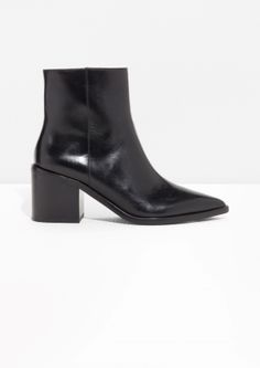 & Other Stories image 1 of Pointy Block Heel Boots in Black